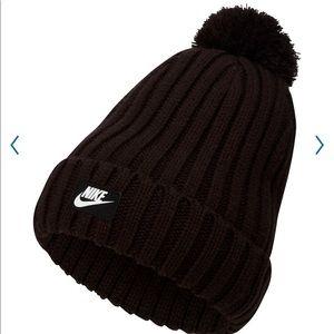 Nike Unisex Black Knit Removable Pom Beanie